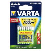 Аккумулятор  Varta R03 AAA BL4 NI-MH R2U 800mAh