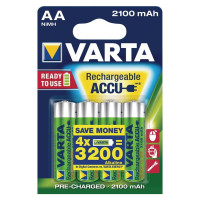 Аккумулятор  Varta R6 AA BL4 NI-MH R2U 2100mAh (4/40/400)