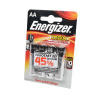 Батарейка Energizer MAX+Power seal LR6 AA BL4 Alkaline 1.5V (ВЫГОДНО!) (4/96)