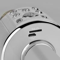 Беспроводной портативный микрофон HOCO BK3 Cool sound KTV microphone серебро