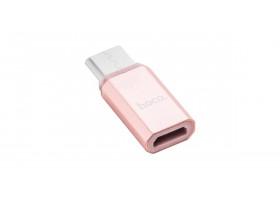 Адаптер Нoco Micro and Type-C adapter розовое-золото