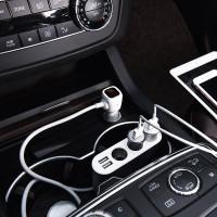 Разветвитель на 3 прикуривателя с 2-мя USB выходами HOCO Z13 LCD one-pull-three car charger серебро