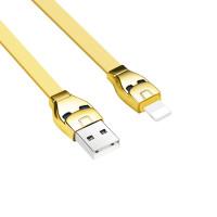 USB кабель Lightning HOCO U14 Steel man lightning charging cable золото